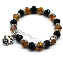 Wholesale cm crystal animal paw print charms with mm faceted glass crystal bead stretch dog or cat bracelet