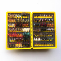 Cheap Free Shipping 168pcs dry and wet fly lures with fly plastic box Trout lures fly fishing bait fake lure fishing tackle soft lure