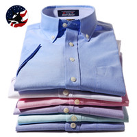 Cheap Wholesale-2015 New Fashion Men's Clothing Summer Mens Short-sleeve Shirts Cotton Oxford Silk Business Casual Shirts Dress Shirts for men