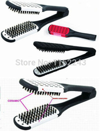 Wholesale-New Straightening Ceramic Hair Brush, V Hair Brush Comb with Boar Bristle, Hair Straightening Brush Y-12
