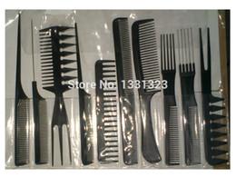Wholesale-Professional Hair Salon Barber Comb Hair Comb Set Kit 518# 10pcs Lot Free Shipping