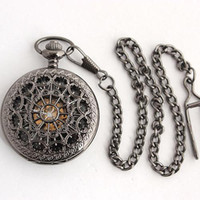 Antique antique timepieces - Delicate Fretwork Men Fob Chain Watches Skeleton Mechanical Pocket Watch Stainless Steel Timepiece