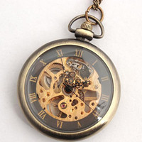Wholesale Ladies Mechanical Pendant Watches Vine Style Hunter Womens Copper Necklace Chain Pocket Watch Men Skeleton Hollow Wind Up Fob Watch Box