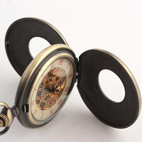 Wholesale Antique Design Mens Fob Pocket Watches Double Cover Copper Mechanical Skeleton Chain Watch Pendant