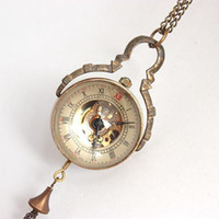 Wholesale Mens Womens Dress Ornament Crystal Ball Pocket Watches Mechanical Copper Necklace Dangle Chain Watch