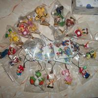 Cheap Wholesale-free shipping Super Mario pvc figure cell phone strap mix order 80pcs b1049