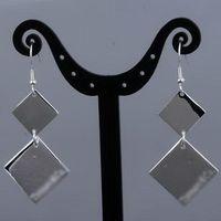 Sterling Silver Dangle & Chandelier Silver Wholesale -2011 new jewelry cheap 925 sterling Silver double Square Chandelier Dangle Earrings