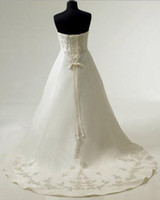 Wholesale 100 Hight NEW Wedding Dress Bridal white Strapless A Line Custom