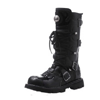 men military boots fashion - Fashion Winter Designer Cowboy Boots Mens Black Leather Tall Buckle Boots Knee High Military Boots New D1144