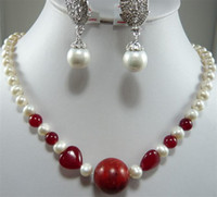 Wholesale White pearl amp Ruby Gemston Necklace Shell Earring Set