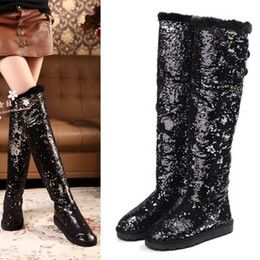 Wholesale Sequined Winter Boots Rabbit Fur Over The Knee Gitter Boots Warm Flat Solid Snow Boots Women Size