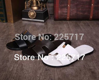 Wholesale size original genuine cow leather men slippers beach casual sandals luxury brand fashion slippers MS13032