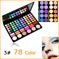 Cheap Wholesale-Fashion Cosmetics Multi-Function 78 Colors #3 Eyeshadow Llip Gloss Blush Makeup Pallet Kit Eye Shadow Sets