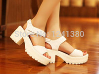 Women Chunky Heel PVC 2015 women Thick with fish head sandals,Waterproof heavy-bottomed high-heeled shoes,platform thick heel sandals,women's shoes