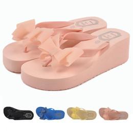 Wholesale-Women flip flops casual summer wedge flip flops solid eva shoes platform flip flops sweet bowtie women flip flops