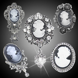 Wholesale-vintage cameo brooch pins brooches for women rhinestones broche flower brooch fashion jewelry boh-a05 free shipping 2015