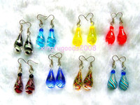 Wholesale Ppcs Solid drop Handmade Murano glass Silver plated Earrings jewelry