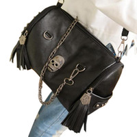 Cheap Wholesale-Skull bags map 2015 new fashion handbag women's designer bag shoulder tote lovely messenger rivet black for gril Free shipping