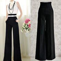 Cheap Wholesale-Womens Casual Black Slim High Waist Flare Wide Leg Long Pants Palazzo Trousers