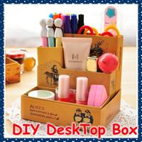 Precio de Organizadores de papel de escritorio-Al por mayor [SHOP FORREST] Artículos de oficina de la historieta de Kawaii Papelería DIY Organizador de escritorio / caja de papel caja de almacenaje de escritorio (10 PC / porción) F033