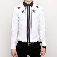 Cheap Wholesale-Polo new 2015 fashion french cuff brand star Stripe print mens dress shirts designer clothes casual shirt white,M-XXL,free ship