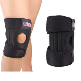 Wholesale Leg Support Sports - Wholesale-New SX520 Warm Leg Knee Support Protector Sports Training Elastic Knee Brace Wrap Pad Patella Guard 4 Spring Bars Black