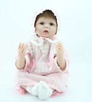 "Cheap Wholesale-22"" Reborn baby dolls Silicone vinyl newborn baby doll Soft girls toys handmade doll lifelike Children gift"