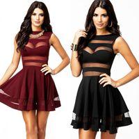 plus size clubwear - New Women Black BrownRed Mesh Panel Dress Above Knee Mini Party Clubwear amp Dresses Plus Size M XL XXL