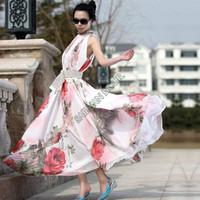 animal print maxi dress - New Women Lady Flower Pattern Sleeveless Chiffon Maxi Dress Flouncing Sundress Long Dresses