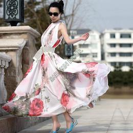 Wholesale-2015 New Women Lady Flower Pattern Sleeveless Chiffon Maxi Dress Flouncing Sundress Long Dresses Free Shipping 41
