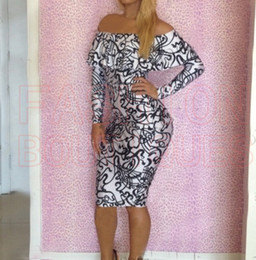 Wholesale-S M L Plus Size 2015 Spring New Fashion Women Sexy Long Sleeve Off the Shoulder Vintage Printed Bodycon Bandage Dress YH003