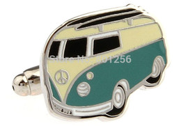 Wholesale Cuff Links cuff links blue color peace bus design copper material men cufflinks whoelsale amp retail