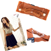 elastic stretch belt - Women Lady Retro Wide Waist Belt Elastic Stretch Waistband Girdle Buckle Bowknot Bowtie Waist Brown