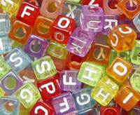 Letters & Numbers abc beads - Transparent Acrylic Bead Acrylic Square Cube Alphabet ABC Letter Charm mm jewelry accessory