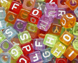 Wholesale Transparent Acrylic Bead Acrylic Square Cube Alphabet ABC Letter Charm mm jewelry accessory