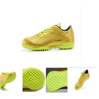 Wholesale New Neymar Exclusive Hypervenom Phantom Premium Mens Gold TF Turf Indoor Soccer Shoes Online Retro Mens golden Soccer Boots