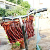 willow basket - New fashion Outdoor Classic Style Rustic Basket Willow Straps Cycling Bicycle Wicker Manual Basket