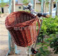 bicycle wicker baskets - New fashion Outdoor Classic Style Rustic Basket Willow Straps Cycling Bicycle Wicker Manual Basket