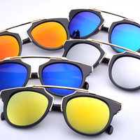 Wholesale High quality women brand designer sunglasses round mirrored shades cat eye glasses os009