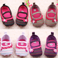 Wholesale Sweet Newborn Baby Girl Flower Ruffled Shoes Toddler Soft Bottom Crib Walk Shoes