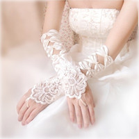 Cheap Wholesale-5Pair Free Shipping Quality Exquisite Car Flower Lace Handmade Bride Wedding Gloves