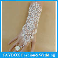 Wholesale pair Ivory Fashion Rose flower design Bridal Lace Pearl beaded bracelet Fingless gloves wedding accessories women