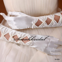 girl white gloves - In Stock Hot Sale White Ivory Full finger Hollow Bridal Gloves Wedding Girls Fashion Wedding Gloves Bridal