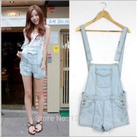 Cheap Wholesale-2015 Summer Women Girls Fashion Jean Jumpers Short Hot Jean Jumpsuit Rompers Light Blue Size S-XL