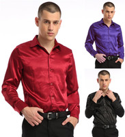 Cheap Wholesale-FREE SHIPPING 2015 New Fashion Plus Size XL Turn-Down Collar Silk Like Long Sleeve Single Breasted Mens Shirts 008-140606002 >