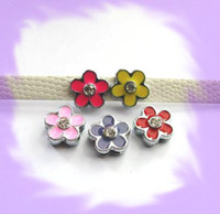 Wholesale 50pcs mm Flower Rhinestone Slide Charms Fit Pet Dog Cat Collar Phone strips mix color