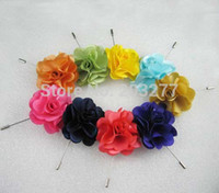 fabric flower pin - newest satin fabric flowers lapel pins color for your choice