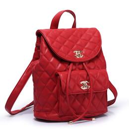 Wholesale Channel bag lattice elegant all match punk lady PU leather backpack women travel bag women school bag bolsas mochilas femininas