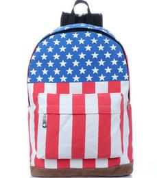 Wholesale women high quality backpack with star canvas American US UK flag backpack femenino amarillo mochila bolso bolsa sacs