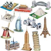 Wholesale Freeshipping MINI CubicFun D Puzzle Famous buildings D paper model DIY puzzle Educational toys for kids
